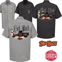 Hotrod 58 Rockabilly V8 Car Garage Work Shirt Rat Rod Rust Vintage Clothing