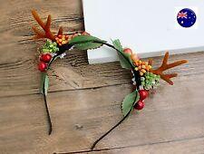 Women Girl Reindeer Deer Antler Fruit Seeds Costume Ear Party Hair headband Prop