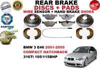 Para BMW 3 E46 Compacto Hatchback Juego de Discos Freno Trasero + Pastillas Kit