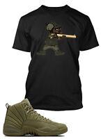 Tee Shirt to Match Air Jordan 12 Retro Olive Shoe Custom Men Graphic Hip Hop Tee
