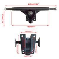 2pcs Black Skateboard Long Board Cruiser  7 inch Trucks Cruiser Durable Parts