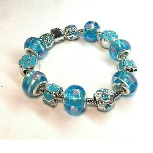 Blue Bead Charm Bracelet