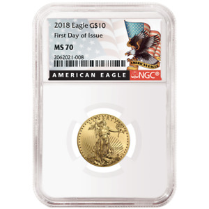 2018 $10 American Gold Eagle 1/4 oz. NGC MS70 FDI Black Label