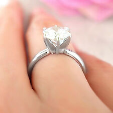 1.5CT SOLITAIRE ROUND CUT G/VVS MOISSANITE ENGAGEMENT SILVER RING ALL SIZE+GIFT