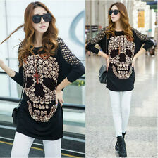 KL Womens Baggy Oversized Loose Hollowing Skull Print Batwing Long Sleeve Top