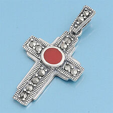 Cross with Marcasite Pendant Sterling Silver 925 Christian Jewelry Carnelian