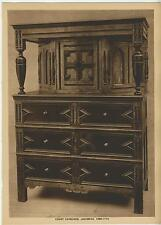 ANTIQUE JACOBEAN COURT CUPBOARD CLOSET AMERICAN COLONIAL FURNITURE OLD ART PRINT