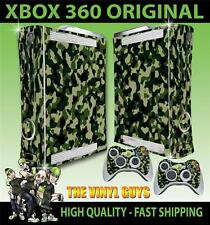 XBOX 360 OLD SHAPE GREEN ARMY COMBAT CAMOUFLAGE STICKER SKIN & 2 PAD SKINS