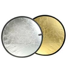"""24"""" 2-in-1 Light Mulit Collapsible Gold and Silver Reflector 60cm Photo X5RG"""