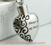 """Always In My Heart"" Cremation Jewelry Pendant Keepsake Urn Necklace For Ashes"