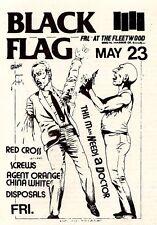 "2x3"" Vintage 1980's BLACK FLAG Punk Rock Flyer Sticker / decal  Agent Orange"