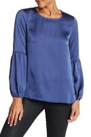 Bobeau 164074 Women's Bubble Sleeve Satin Blue Denim Top Size Small