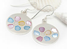 NEW cute disc earrings, flower shell inlay in solid genuine 925 Sterling Silver