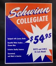 "** SCHWINN STORE DISPLAY SIGN ORIGINAL COLLEGIATE BIKE 14"" x 10¾"" **"