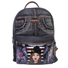 JS13005 NICOLE LEE DENIM GRAPHIC BACKPACK