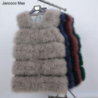New Echte Straußenfedern Pelz Warm Weste Mode Mantel 91901