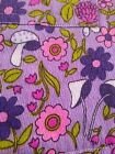 vintage full apron 60s 70s purple MUSHROOM childs small size pink floral snail