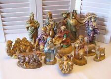 Vintage Holland Mold 14 Piece Nativity Creche Figurines Set Circa 1980's