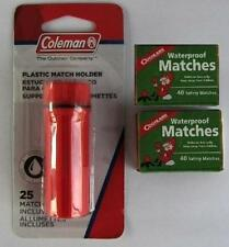 Coleman Match Holder + 105 Waterproof Matches Emergency Survival Kit Bug Out Bag