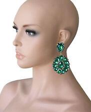 Statement Lange Ohrclips Clip Clips Ohrringe Acryl Grün Smaragd Emerald 8,3 cm L
