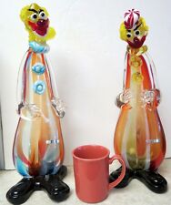 Murano Art Glass Very Large Pair Of Cenedese Clown Very Rare And Unusual Signed