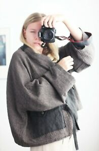 Ivan Grundahl Checkered Oversized Wool Jacket In Brown Size 40/One Size