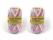 3 X 100g Malli 8ply Acrylic Knitting Crochet Yarn Baby Rainbow Pink Yellow Blue