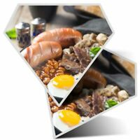 2 x Vinyl Stickers 25cm bw Cooked Breakfast Cafe Restaurant  #36916
