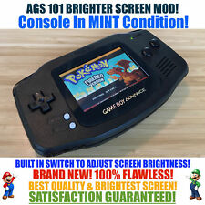 Nintendo Game Boy Advance GBA Black System AGS 101 Brighter Backlit Mod SWITCH!