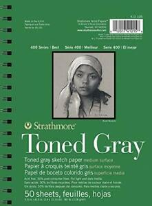 "Strathmore Gray Drawing 400 Series Toned Sketch Pad 5.5""x8.5"" 50 Sheets"