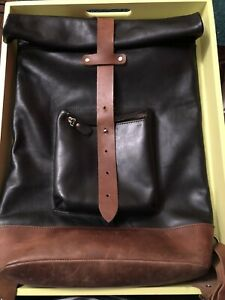 Leather Roll Top Backpack