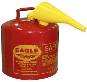 Red Galvanized Steel Type Gasoline Safety Can with Funnel 5 Gallon Capacity Gas
