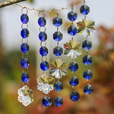 Blue Crystal Chandelier Prism Lamp Snowflake Octagon Bead Chain Wedding Pendant