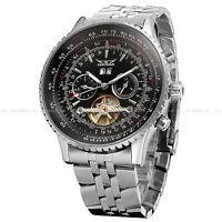 JARAGAR Date Day Stainless Steel Tourbillon Automatic Mechanical Men's Watch 034
