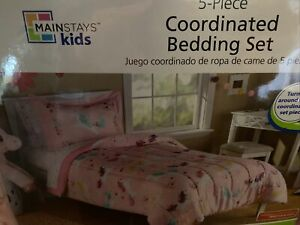 New MAINSTAYS Pink UNICORN 5 Piece TWIN BEDDING SET Sheets COMFORTER Rainbow