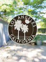 """Los Angeles California Decal Sticker  3"""" x 3"""" Clear Glossy"""
