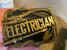 VINTAGE ELECTRICIAN SOLID BRASS NICE BELT BUCKLE TURN ON THE POWER ON YOUR JOB