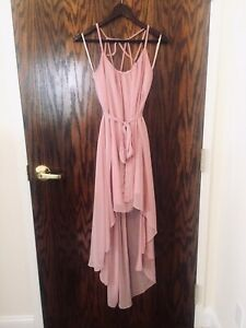 ARK & CO WOMEN'S SOFT PINK HIGH/LOW BEAUTIFUL STRAP BACK DRESS SIZE LARGE