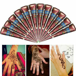 Brown Natural Temporary Body Herbal Henna Cones Tattoo Best CHI Paint ink N1M7