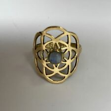Seed of Life Ring in Brass with Moonstone SIze 6.25