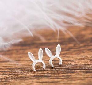 925 Sterling Silver Cute Rabbit Ears Women Kids Girls Stud Earrings Jewelry Gift