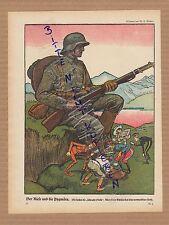 1917, dibujo de w. u. wellner el gigante y los pigmeos. wwi