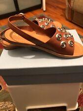 NIB $795 PRADA Crystal Embellished Calf Leather Slingback Sandals Brandy Sz41/10