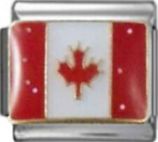 CANADA CANADIAN FLAG Enamel Italian Charm 9mm - 1 x PC247 Single Bracelet Link