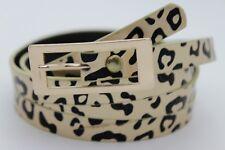 Women High Waist Hip Gold Metal Buckle Fashion Belt Animal Print Leopard L XL