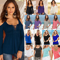 Women Off Shoulder Casual Short Sleeve Summer Slim Loose Fit T-Shirt Top Blouse