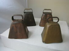 4 Small Vintage Copper Colored, Metal Cow or Goat Bells