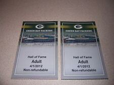 2012 GREEN BAY PACKERS HALL of FAME TICKET LOT