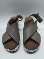 Clarks Collection Soft Cushion Leather Wedge Sandals Brown/White 7.5W