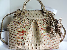 Brahmin Bristol Brulee Croc Embossed Leather Satchel Bag + Roses Charm NWT~RARE~